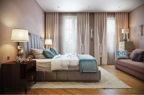 Занавески в спальню: Идеи декорирования окна в 2017 году